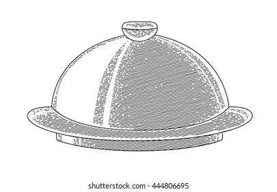 Vector illustration of a tray with a cap. Tray waiter painted in the technique of engraving. Tableware, dinner in the restaurant. Dishes.