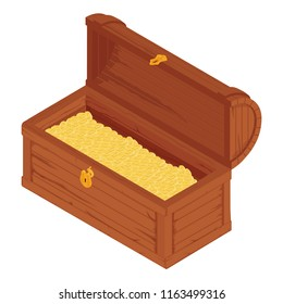 Vector  illustration of treasure chest for animation. Opened antique box full of golden coins. Isolated on white background. Game user interface (GUI) element for video games, computer or web design.