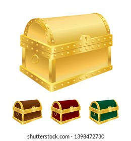 Vector illustration of treasure chest isolated on white background.