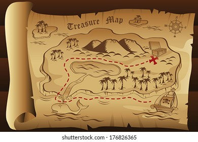 A vector illustration of treasure map