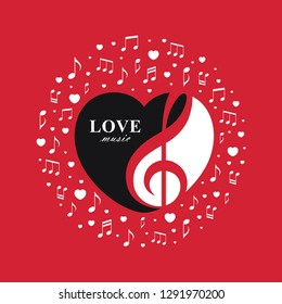 Vector illustration with treble clef inside the heart shape on red background. Love music design concept for Valentine's Day concert, romantic playlist cover, radio banner, musical logo.