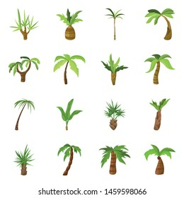 Vector illustration of tree and beach symbol. Set of tree and summer stock symbol for web.