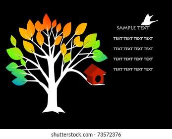 vector illustration of tree and bird