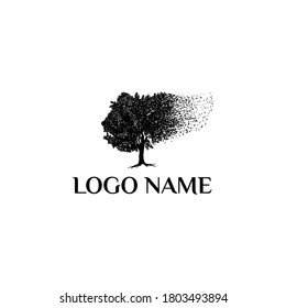 Vector illustration. Tree blown by the wind (strength, endurance, fortitude) Vintage rustic hand drawn logo style. Retro design.