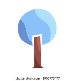 vector illustration of a tree with blue leaves, creative creation tree.  illustrations for decoration, christmas.  flat minimalist design eps 10.