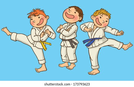 Vector illustration of Tree Boy Karate. SPORT. Children illustration for School books, magazines, advertising and more. Separate Objects. VECTOR.
