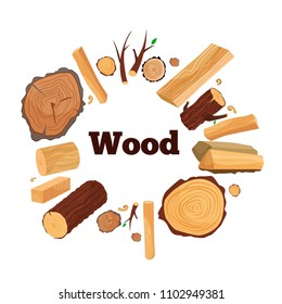 Vector illustration of a tree: branches, spilled wood, boards, firewood, shavings