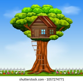 vector illustration of a tree house