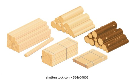 Vector illustration of a tree, lumber, plywood, boards, isometrics, low poly. infographics, icon.