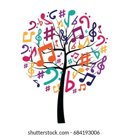 vector illustration of tree with musical notes for audio media concepts and designs