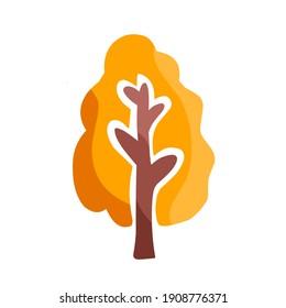 vector illustration of a tree with orange leaf, creative creation tree.  illustrations for decoration, christmas.  flat minimalist design eps 10.