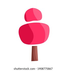 vector illustration of a tree with pink leaves, a creative creation tree.  illustrations for decoration, christmas.  flat minimalist design eps 10.