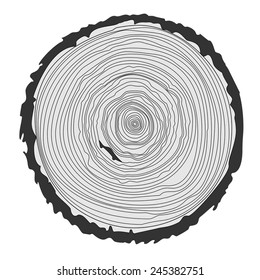 vector illustration tree rings background and saw cut trunk isolated white