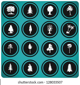Vector illustration of tree silhouettes. tree icons