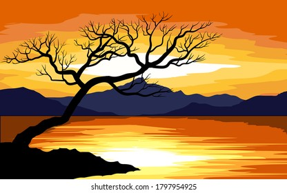 Vector illustration of a tree at sunset