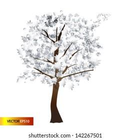 Vector illustration  tree in winter