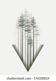 Vector illustration trees. Landscape background with forest