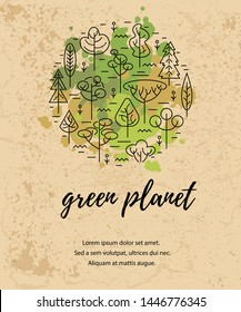 Vector illustration with trees. Place for text. Ecological concept. Template for flyer, poster, invitation, Earth day. Flat, thin line style design. Circle concept.