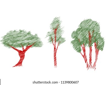 vector illustration of trees sketch, different types of woods