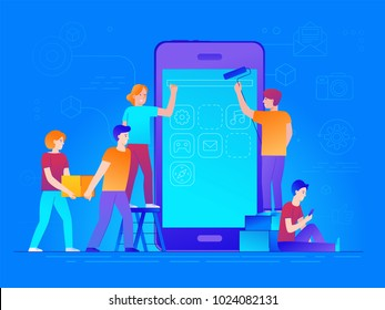 Vector illustration in trendy flat and linear style -mobile app design and user interface development concept - small people building application with blocks on the screen of the mobile phone - banner
