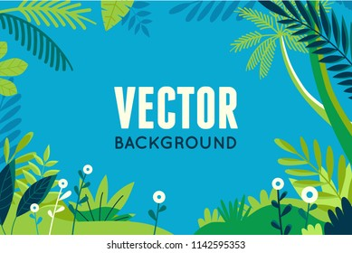 Vector illustration in trendy flat and linear style - background with copy space for text - plants, leaves, palm trees and sky - background for banner - summer vacation concept