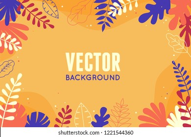 Vector illustration in trendy flat and linear style - abstract simple background with leaves and plants and copy space for text - floral banner, cover design, poster -