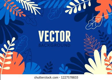 Vector illustration in trendy flat and linear style - abstract simple background with leaves and plants and copy space for text - floral banner, cover design, poster