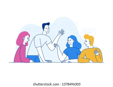 Vector illustration in trendy flat linear style - creative team working together - man and woman - developing and management of the project - human resources and career opportunities concept