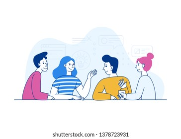 Vector illustration in trendy flat linear style - creative team working together - guys and girls - business meeting concept with cartoon characters - design template for horizontal banner
