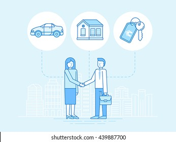 Vector illustration in trendy flat linear style - sharing economy and collaborative consumption concept and infographic elements - peer to peer lending and renting - carsharing, coworking, coliving