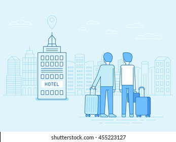 Vector illustration in trendy flat linear style - people arriving at the hotel building with bags and luggage - travel concept and icon