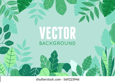 Vector illustration in trendy flat and linear style - background with copy space for text - green plants and leaves