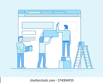 Vector illustration in trendy flat and linear style - web design and user interface development concept - small people building website with blocks in the browser - and infographics design template