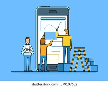 Vector illustration in trendy flat and linear style -mobile app design and user interface development concept - small people building application with blocks on the screen of the mobile phone