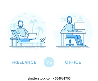 Vector illustration in trendy flat and linear style - freelance vs office - infographics design template - comparison of different style of work - outsourced employee and office worker