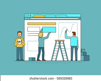 Vector illustration in trendy flat and linear style - web design and user interface development concept - small people building website with blocks in the browser - banner and infographics