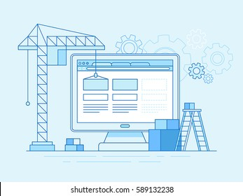 Vector illustration in trendy flat and linear style - web design and user interface development concept - construction website with blocks in the browser - banner and infographics design template