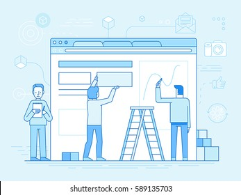 Vector illustration in trendy flat and linear style - web design and user interface development concept - small people building website with blocks in the browser - banner and infographics design