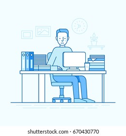 Vector illustration in trendy flat linear style and blue colors - man working sitting at the desk with computer and hard working - busy and overloaded employee