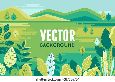 Vector illustration in trendy flat and linear style - background with copy space for text - plants, leaves and forest landscape - background for banner, greeting card, poster and advertising