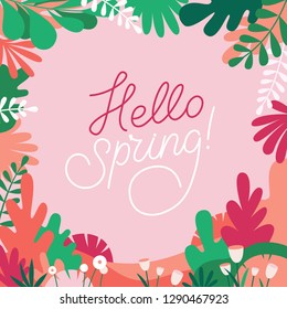 Vector illustration in trendy flat simple style - background with copy space for text - plants, leaves, trees - background for banner, greeting card, poster, advertising - hand-lettering hello spring