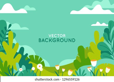 Vector illustration in trendy flat simple style - spring and summer background with copy space for text - landscape with plants, leaves, flowers - background for banner, greeting card, poster