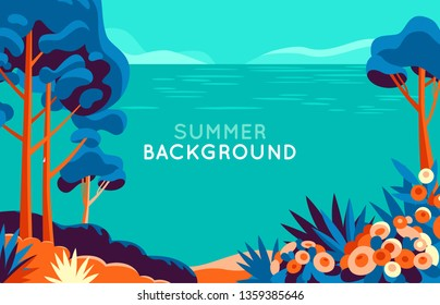 Vector illustration in trendy flat and simple style - background with copy space for text - summer landscape - background for banner, greeting card, poster and advertising - summer vacation concept