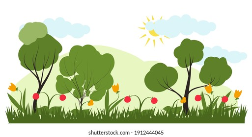 Vector illustration in trendy flat simple style - spring and summer landscape with plants, leaves, flowers - background for banner, greeting card or poster