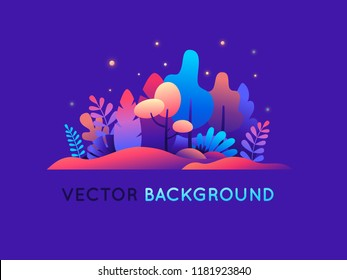 Vector illustration in trendy flat style and bright vibrant gradient colors - background with copy space for text - plants, leaves, trees and sky - background for banner, greeting card - magic forest