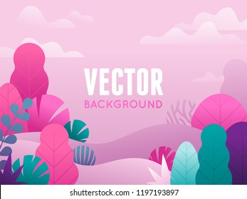 Vector illustration in trendy flat style and bright vibrant gradient colors - background with copy space for text - plants, leaves, trees and sky - background for banners, packaging, posters