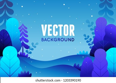 Vector illustration in trendy flat  style - background with copy space for text - winter landscape - background for banner, greeting card, poster and advertising - happy new year, Christmas holidays