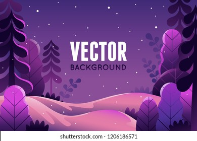 Vector illustration in trendy flat  style - background with copy space for text - winter landscape - background for banner, greeting card, poster and advertising - happy new year and Christmas