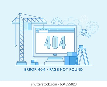 Vector  illustration in trendy line flat style - 404 page design template and web site under construction or maintenance -page not found message and banner