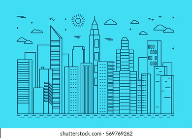 Vector illustration in trendy line style - abstract city concept with office houses and buildings - urban landscape for banners and websites headers